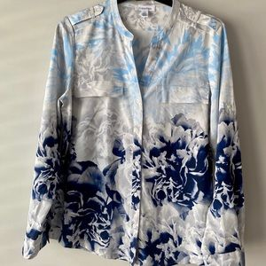 Calvin Klein blue and grey flower women's blouse